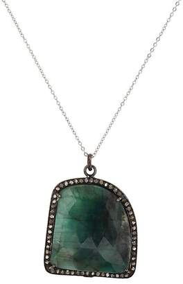 Feathered Soul Women's Emerald & Sterling Silver Pendant Necklace