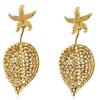 Oscar de la Renta Filigree Leaf Earrings