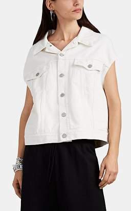 MM6 MAISON MARGIELA Women's Cutout Denim Oversized Trucker Jacket - White