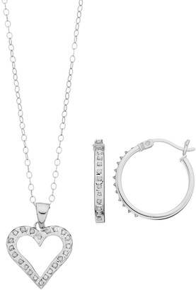 Mystique Diamond Platinum Over Silver Heart Pendant & Hoop Earring Set