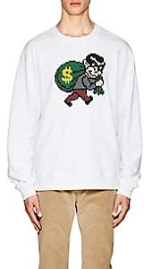 Mostly Heard Rarely Seen 8-Bit Men's Bank-Robber Cotton Sweatshirt-White