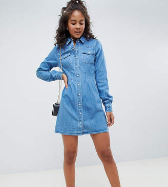 Asos Tall DESIGN Tall denim fitted western shirt dress with seam detail