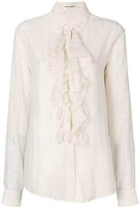 Saint Laurent ruffled lurex stripe shirt