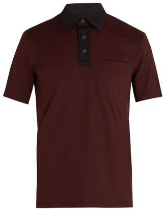 Prada - Contrast Collar Cotton Blend Polo Shirt - Mens - Burgundy Multi