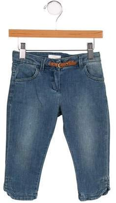 Chloé Girls' Leather-Accented Straight-Leg Jeans w/ Tags