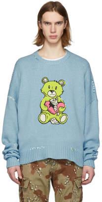 Amiri Blue Cashmere Teddy Patch Sweater
