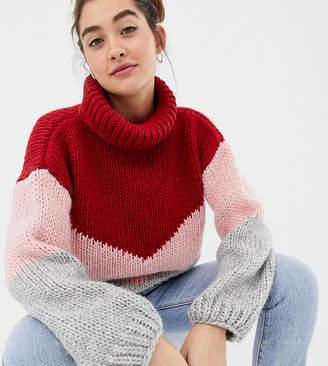 12eeff6864 Oneon OneOn hand knitted colourblock jumper