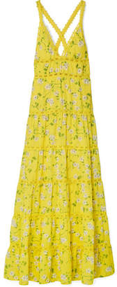 Alice + Olivia Alice Olivia - Karolina Crochet-trimmed Floral-print Chiffon Maxi Dress - Bright yellow