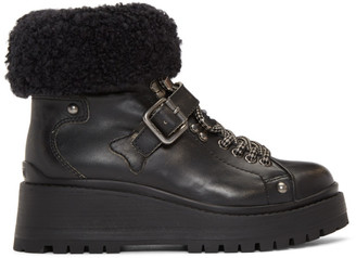 Miu Miu Black Lugged Vintage Boots