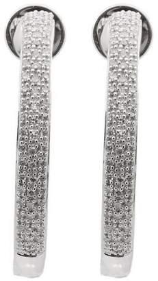 Monica Vinader Silver Fiji Large Diamond Hoop Earrings