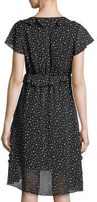 Max Studio Polka-Dot Ruffle Crepe Dress