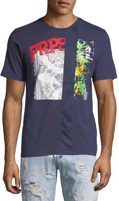 PRPS Men's Mesh Stripe Logo T-shirt