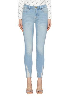 Frame 'Le High Skinny' distressed cuff jeans