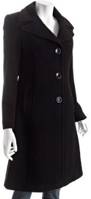 DKNY black wool-cashmere long button coat