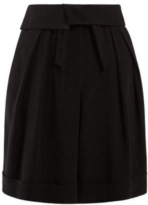 Balmain High Rise Crepe Bermuda Shorts - Womens - Black