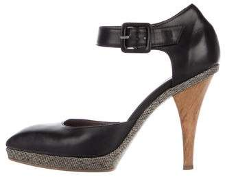 Marni Leather Square-Toe Pumps