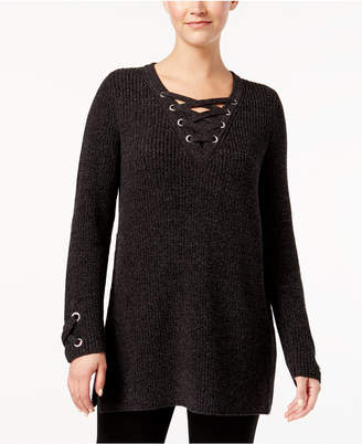 Style&Co. Style & Co Petite Lace-Up Sweater, Created for Macy's