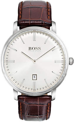 BOSS Hugo Men's Tradition Brown Leather Strap Watch 40mm 1513462