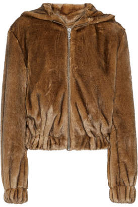 Helmut Lang - Faux Fur Hooded Bomber Jacket - Brown $695 thestylecure.com
