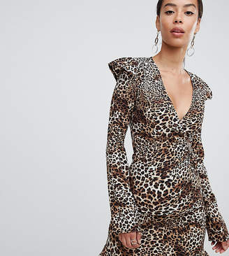 Fashion Union Tall tall wrap top in leopard