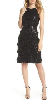 Eliza J 3D Floral & Sequin Cocktail Dress