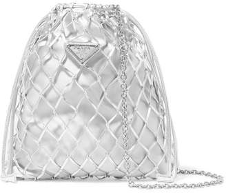 Prada Macramé Leather And Satin Bucket Bag - Silver