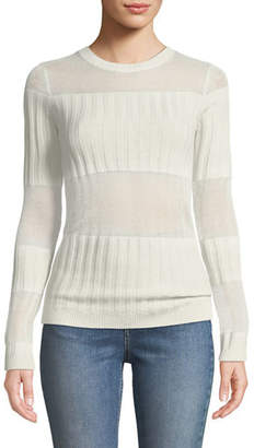 J Brand Andrea Ribbed Silk-Cashmere Crewneck Sweater