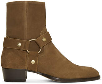 Saint Laurent Brown Wyatt Harness Boots