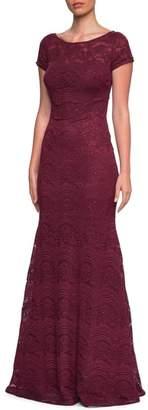 La Femme Sequin Lace Trumpet Gown