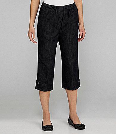 Allison Daley Stretch Diamond Denim Pull-On Crop Pants