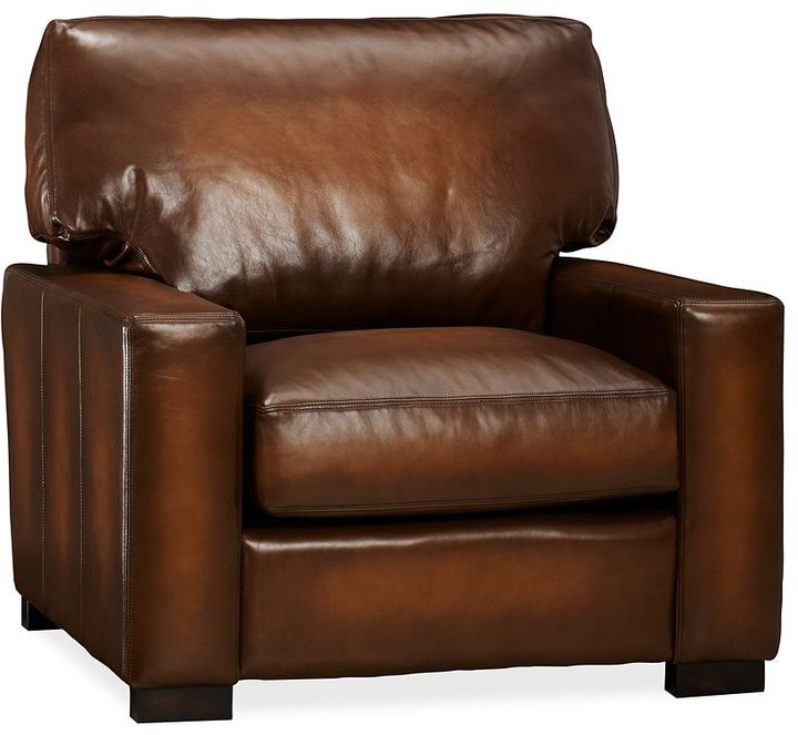 Pottery Barn Turner Leather Small Armchair
