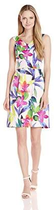 Ellen Tracy Women's Tropical Floral Print Off The Shoulder Dress