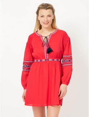 George Tassel Trim Embroidered Woven Dress