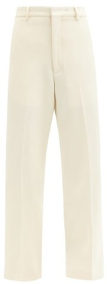 Raey Flood Crop Wool Twill Tailored Trousers - Womens - Ivory