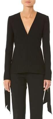 Carolina Herrera Tie-Cuff Long-Sleeve Blouse