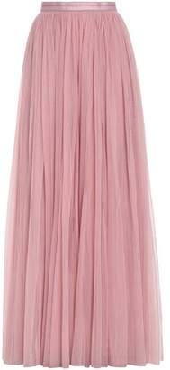 Needle & Thread Satin-Trimmed Pleated Tulle Maxi Skirt