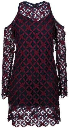 Self-Portrait floral grid cold-shoulder dress