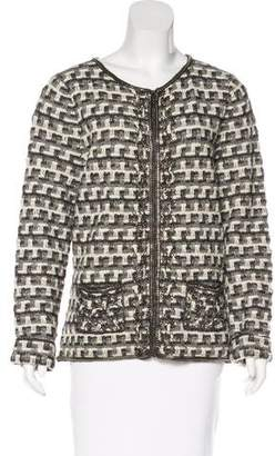 Oscar de la Renta Patterned Chain-Trimmed Cardigan