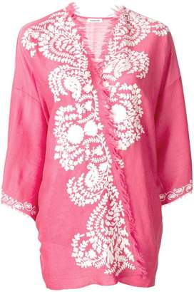P.A.R.O.S.H. cashmere contrast embroidered kimono jacket
