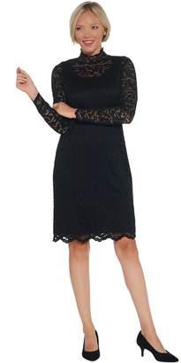 Isaac Mizrahi Live! Regular Lace Mock-Neck Knit Dress