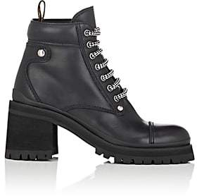 Miu Miu Women's Lug-Sole Leather Ankle Boots - Nero