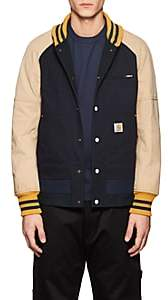 Junya Watanabe Comme des Garçons Men's Colorblocked Cotton Varsity Jacket - Navy