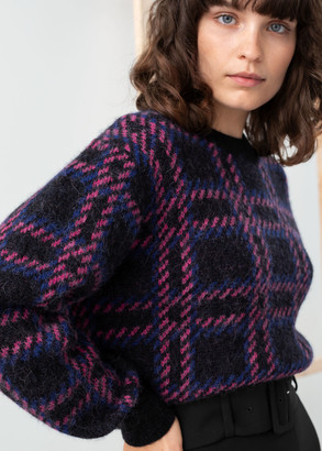 And other stories Check Alpaca Wool Blend Sweater