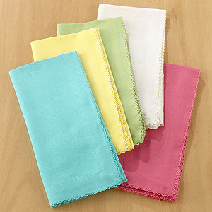 Solid Napkins with Trim, Sets of 4