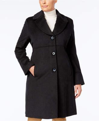 Jones New York Plus Size Notched Shawl-Collar Walker Coat