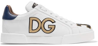 Dolce & Gabbana Logo-appliquéd Leather Sneakers - White