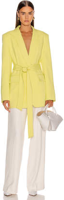 Tibi Oversized Tuxedo Blazer Jacket in Acid Yellow | FWRD