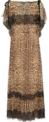 RED Valentino Lace-trimmed Leopard-print Silk-georgette Midi Dress 475af3192