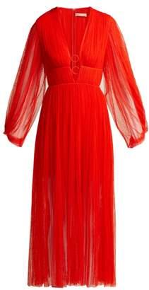 Maria Lucia Hohan Astoria Deep V Neck Pleated Tulle Midi Dress - Womens - Red