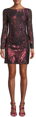 Aidan Mattox Long-Sleeve Sequin-Ribbon Mini Dress